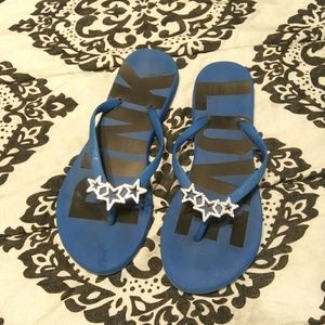 Pink Victoria's Secret Blue Flip Flops Size 7